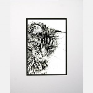 LE print cat white