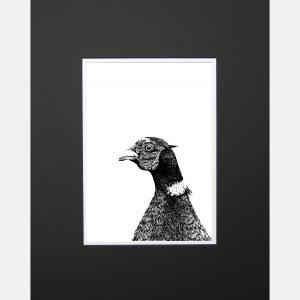 LE print pheasant black
