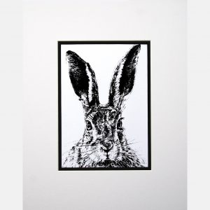 LE print solemn hare white