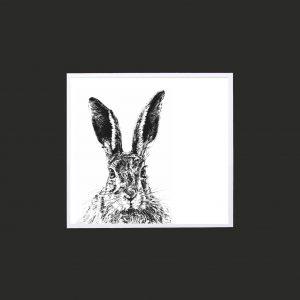 Solemn Hare 10 x 10 print Black