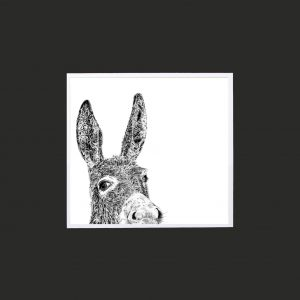 Donkey 10 x 10 print black
