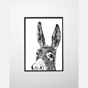 donkey white print